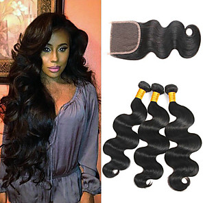 cheap Human Hair Weaves-3 Bundles with Closure Mongolian Hair Wavy Human Hair 335 g Extension Human Hair Extensions Hair Weft with Closure 8-24 inch Black Natural Color Human Hair Weaves Natural Best Quality Hot Sale Human