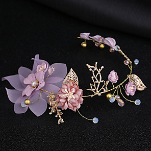 cheap Hair Jewelry-Women's Headbands For Party Ceremony Criss Cross Crystal Fabric Alloy Purple