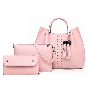 cheap Women's Boots-Women's Rivet / Tassel PU Bag Set Solid Color 3 Pcs Purse Set Black / Brown / Blushing Pink