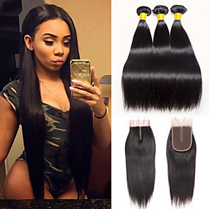cheap 3 Bundles with Closure-3 Bundles with Closure Hair Weaves Indian Hair Straight Human Hair Extensions Remy Human Hair 100% Remy Hair Weave Bundles 345 g Natural Color Hair Weaves / Hair Bulk Human Hair Extensions 8-20 inch