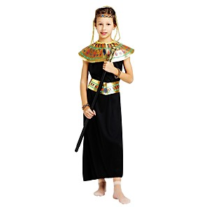cheap Ethnic & Cultural Costumes-Pharaoh Costume Girls' Teen Halloween Halloween Carnival Children's Day Festival / Holiday Polyster Outfits Black Solid Colored Halloween