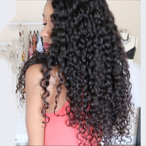 cheap Human Hair Wigs-Big Curly Virgin Human Hair Glueless Full Lace / Lace Front Wig Brazilian Hair 130% / 150% / 180% Density With Baby Hair / Middle Part Sew in / African American Wig Women's Short / Medium Length