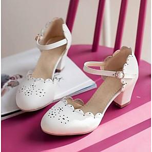 cheap Women's Heels-Women's Heels Chunky Heel Closed Toe PU(Polyurethane) Comfort Summer Beige / Blue / Pink / Daily