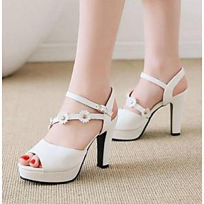 cheap Women's Sandals-Women's Sandals Chunky Heel PU Comfort Spring Pink / White / Black / EU39