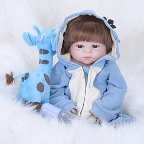 cheap Reborn Doll-FeelWind 22 inch Reborn Doll Baby Boy Reborn Baby Doll lifelike Hand Made Hand Rooted Mohair Tipped and Sealed Nails Artificial Implantation Brown Eyes Full Body Silicone with Clothes and Accessories