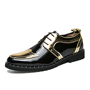cheap Men's Slip-ons & Loafers-Men's Comfort Shoes Patent Leather / Synthetics Fall & Winter British Oxfords Color Block Black / Gold / Silver / EU40