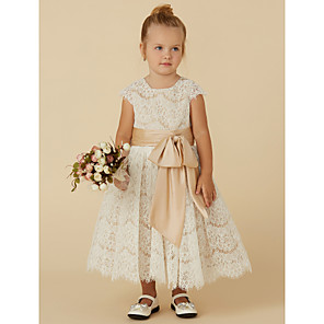 cheap Girls' Dresses-A-Line Tea Length Pageant Flower Girl Dresses - Lace / Taffeta Short Sleeve Jewel Neck with Sash / Ribbon / Bow(s) / Spring / Summer / Fall