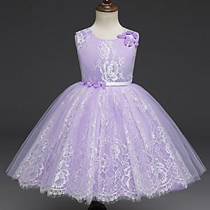 cheap Movie & TV Theme Costumes-Princess Dress Flower Girl Dress Girls' Movie Cosplay A-Line Slip Cosplay Purple / Pink Dress Halloween Carnival Masquerade Tulle Lace Polyester