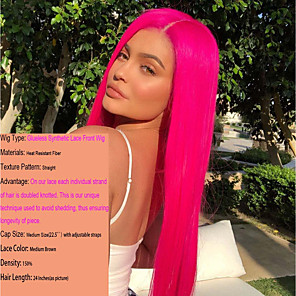 cheap Synthetic Lace Wigs-Synthetic Lace Front Wig Cosplay Wig Straight Kardashian Middle Part Lace Front Wig Long Synthetic Hair 22-26 inch Women's Heat Resistant Women Fashion Rose Pink / Glueless