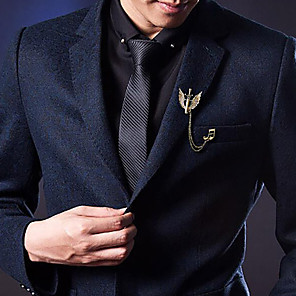 cheap Pins and Brooches-Men's Cubic Zirconia Brooches Stylish Elegant Trendy Fashion Brooch Jewelry Gold Silver For Wedding Holiday