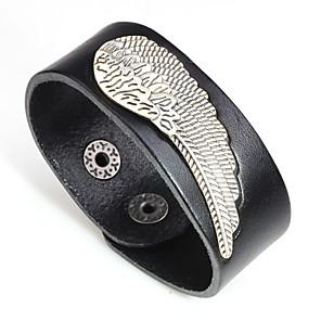 cheap Sport Watches-Men's Bracelet Bangles Leather Bracelet Stylish Wings Trendy Fashion Leather Bracelet Jewelry Black / Orange / Coffee For Gift Carnival