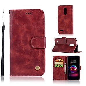 cheap Other Phone Case-Case For LG LG X Style / LG X Power / LG V30 Wallet / Card Holder / with Stand Full Body Cases Solid Colored Hard PU Leather / LG G6