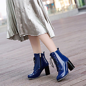 cheap Women's Boots-Women's Boots British Style Plaid Shoes Chunky Heel Pointed Toe PU(Polyurethane) Booties / Ankle Boots Fashion Boots / Bootie Fall & Winter Black / Red / Blue