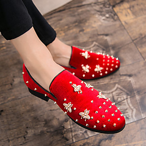 cheap Men's Slip-ons & Loafers-Men's Dress Shoes Fall / Winter Casual Wedding Daily Party & Evening Loafers & Slip-Ons Suede Wear Proof Red / Black / Rivet / Office & Career