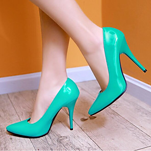 cheap Women's Heels-Women's Heels Plus Size Pumps Pointed Toe Casual Minimalism Daily Solid Colored Patent Leather Summer Black / Yellow / Red / EU37