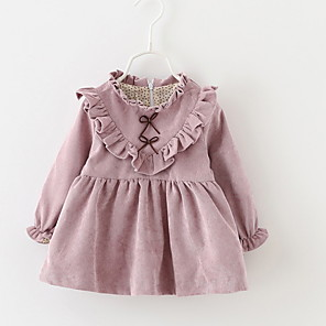 cheap Baby Girls'  Dresses-Baby Girls' Basic Daily Solid Colored Long Sleeve Knee-length Cotton Dress Blushing Pink / Toddler
