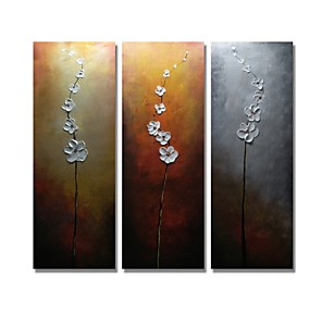 cheap Abstract Paintings-Oil Painting Hand Painted - Floral / Botanical Comtemporary Modern Stretched Canvas / Three Panels