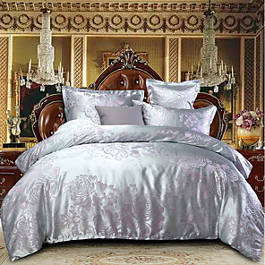 cheap Solid Duvet Covers-Duvet Cover Sets Luxury Polyster Jacquard 4 Piece Bedding Set With Pillowcase Bed Linen Sheet Single Double Queen King