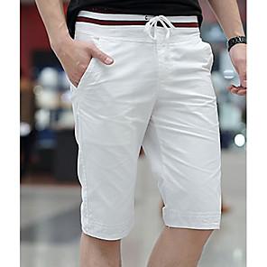 cheap Wall Stickers-Men's Basic Plus Size Daily Slim Chinos / Shorts / Bermuda shorts Pants - Solid Colored Drawstring Khaki Blue White M L XL