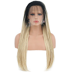 cheap Synthetic Lace Wigs-Synthetic Lace Front Wig Box Braids Free Part Lace Front Wig Ombre Long Black / Blonde Ombre Color Synthetic Hair 24 inch Women's Adjustable Heat Resistant Women Ombre / Ombre Hair