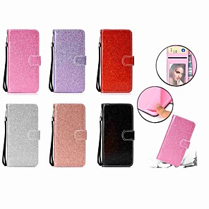 cheap iPhone Screen Protectors-Case For Samsung Galaxy A6 (2018) / A6+ (2018) Wallet / Card Holder / with Stand Full Body Cases Glitter Shine Hard PU Leather