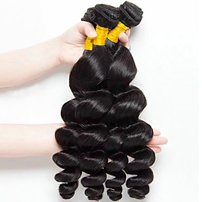 cheap 3 Bundles Human Hair Weaves-4 Bundles Hair Weaves Eurasian Hair Loose Wave Human Hair Extensions Remy Human Hair 100% Remy Hair Weave Bundles 400 g Natural Color Hair Weaves / Hair Bulk Human Hair Extensions 8-28 inch Natural
