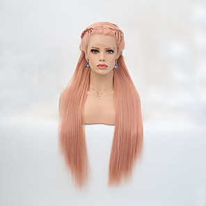 cheap Synthetic Lace Wigs-Synthetic Lace Front Wig Straight Middle Part Lace Front Wig Blonde Long Light Blonde Orange Synthetic Hair 24 inch Women's Adjustable Heat Resistant Party Blonde