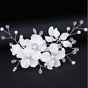 cheap Hair Jewelry-Women's For Date Cosplay Costumes Festival Flower Criss Cross AAA Cubic Zirconia Fabric Alloy White