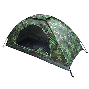 cheap Tents, Canopies & Shelters-1 person Tent Outdoor Lightweight UV Resistant SPF35 Single Layered Poled Camping Tent 1500-2000 mm for Fishing Camping / Hiking / Caving Oxford Cloth 200*100*100 cm