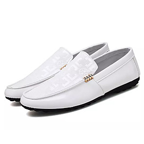cheap Men's Slip-ons & Loafers-Men's Moccasin Patent Leather Spring Loafers & Slip-Ons Black / White / Outdoor