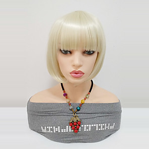cheap Synthetic Lace Wigs-Synthetic Wig Straight Bob Wig Blonde Medium Length Blonde Synthetic Hair 12inch Women's Women With Bangs Blonde