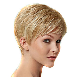 cheap Synthetic Trendy Wigs-Synthetic Wig Straight Short Bob Wig Blonde Short Blonde Synthetic Hair 6 inch Women's Women African American Wig With Bangs Blonde