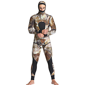 cheap Wetsuits, Diving Suits & Rash Guard Shirts-MYLEDI Men's Full Wetsuit 5mm SCR Neoprene Diving Suit Thermal / Warm Waterproof Long Sleeve 2-Piece Back Zip - Swimming Diving Surfing Camo / Camouflage Spring Summer Fall / Winter / High Elasticity