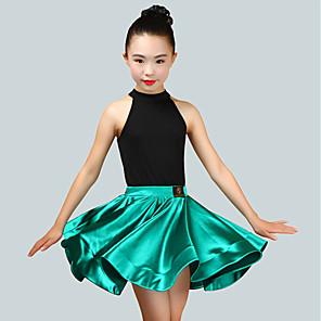 cheap Latin Dancewear-Latin Dance Skirts Ruching Girls' Performance Sleeveless Natural Spandex