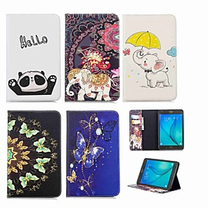 cheap Samsung Case-Case For Samsung Galaxy Tab A 8.0 Wallet / Card Holder / with Stand Full Body Cases Elephant Hard PU Leather