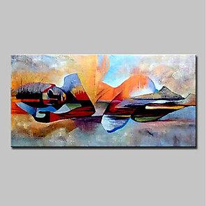 cheap Abstract Paintings-Oil Painting Hand Painted People / Religious Modern Canvas Rolled Without Frame
