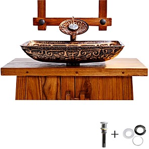 cheap Vessel Sinks-Bathroom Sink Faucet / Bathroom Mounting Ring Antique - Tempered Glass Rectangular Vessel Sink