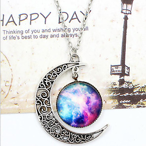 cheap Necklaces-Women's Pendant Necklace Engraved Moon Galaxy Crescent Moon i love you to the moon and back Magic Ladies Unique Design European Fashion Synthetic Gemstones Glass Alloy Dark Blue / Fuchsia Black / Sky