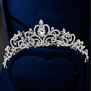 cheap Hair Jewelry-Women's Tiaras For Wedding Party Homecoming Royalty Beaded Cubic Zirconia Rhinestone Silver Plated Alloy Silver