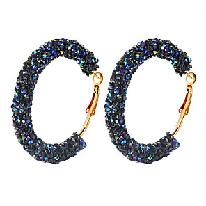 cheap Engraved Bracelets-Women's Crystal Hoop Earrings Earrings Huggie Earrings Retro Machete Donuts Ladies Vintage Punk Elegant Druzy Earrings Jewelry White / Black / Dark Blue For Party / Evening Club 1 Pair