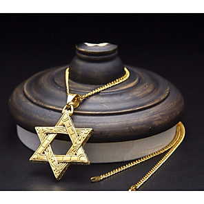 cheap Pendant Necklaces-Men's Pendant Necklace Chain Necklace Cuban Link Star Star of David Pentagram European Fashion Hip-Hop scottish Titanium Steel Steel Stainless Gold Silver 60 cm Necklace Jewelry 1pc For Street Going