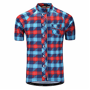 cheap Cycling Jerseys-Malciklo Men's Cycling Jersey Black / Red Red+Blue Purple Plaid / Checkered Bike Jersey Mountain Bike MTB Road Bike Cycling Quick Dry Anatomic Design Sports 100% Polyester Clothing Apparel / Race Fit