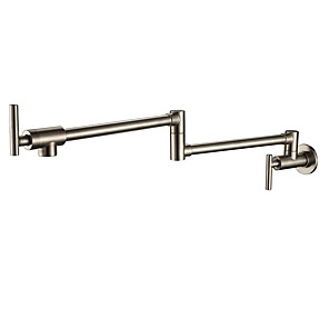 cheap Kitchen Faucets-Multi-Function Wall Mount Kitchen faucet - Water Saving Technology Two Handles One Hole Nickel Brushed Pot Filler Wall Mounted Traditional Kitchen Taps