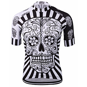 cheap Cycling Jerseys-Malciklo Men's Short Sleeves Cycling Jersey Red / White Orange Yellow Skull Bike Jersey Mountain Bike MTB Road Bike Cycling Breathable Quick Dry Anatomic Design Sports 100% Polyester Clothing Apparel