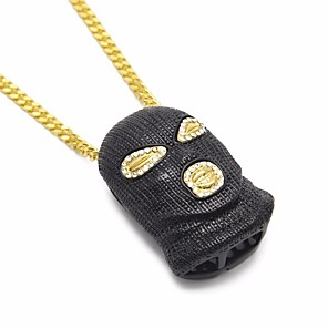 cheap Pendant Necklaces-Men's Cubic Zirconia Pendant Necklace Chain Necklace Hollow Out Cuban Link Creative Head Statement European Hip-Hop Hip Hop Rhinestone Alloy Black Gold Silver 70 cm Necklace Jewelry 1pc For Carnival