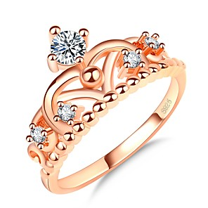 cheap Rings-Women's Ring Princess Crown Ring 1pc Rose Gold Rose Gold Plated Imitation Diamond Ladies Elegant Korean Daily Date Jewelry Stylish Crown Cute