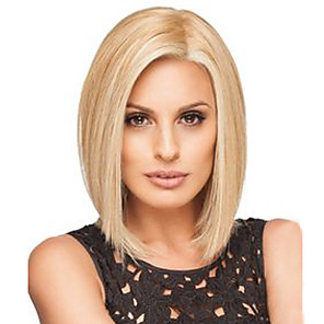 cheap Synthetic Trendy Wigs-Synthetic Wig Straight Bob Side Part Wig Blonde Medium Length Blonde Synthetic Hair 12 inch Women's African American Wig Blonde