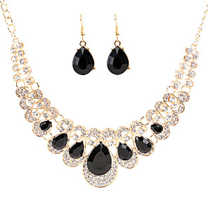 cheap Jewelry Sets-Women's Crystal Drop Earrings Bib necklace Retro Pear Luxury Vintage Elegant Earrings Jewelry Black / White / Champagne For Wedding Party Ceremony 3pcs / pack