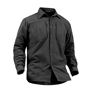 cheap Hiking Shirts-Men's Camo Hiking Shirt / Button Down Shirts Long Sleeve Outdoor Quick Dry Fast Dry Breathability Wearable Shirt Top Autumn / Fall Spring Cotton Nylon Camping / Hiking Hunting Outdoor Exercise Black