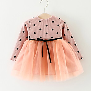cheap Baby Girls'  Dresses-Baby Girls' Basic Daily Dusty Rose Polka Dot / Patchwork Lace up / Patchwork Long Sleeve Knee-length Cotton Dress Black / Toddler
